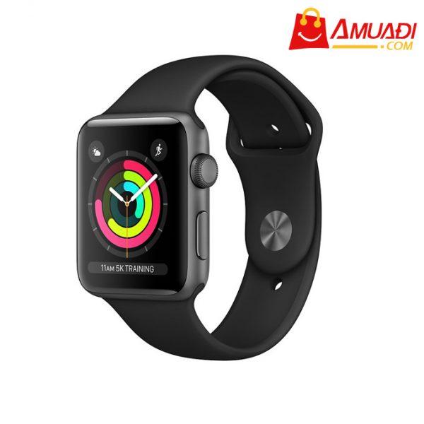 [A699] Apple Watch Series 3 GPS, 42mm viền nhôm dây cao su đen MTF32VNA