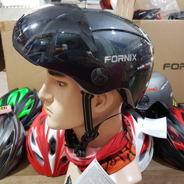 [A1210] Nón Bảo Hiểm Fornix E3 có kính chống nắng: Đen bóng ánh nhũ