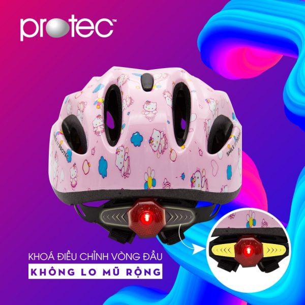 [A1225] Nón Bảo Hiểm trẻ em Protec: Kitty Hồng Đậm